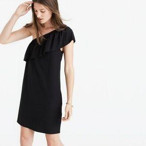 Madewell silk one-shoulder black dress
